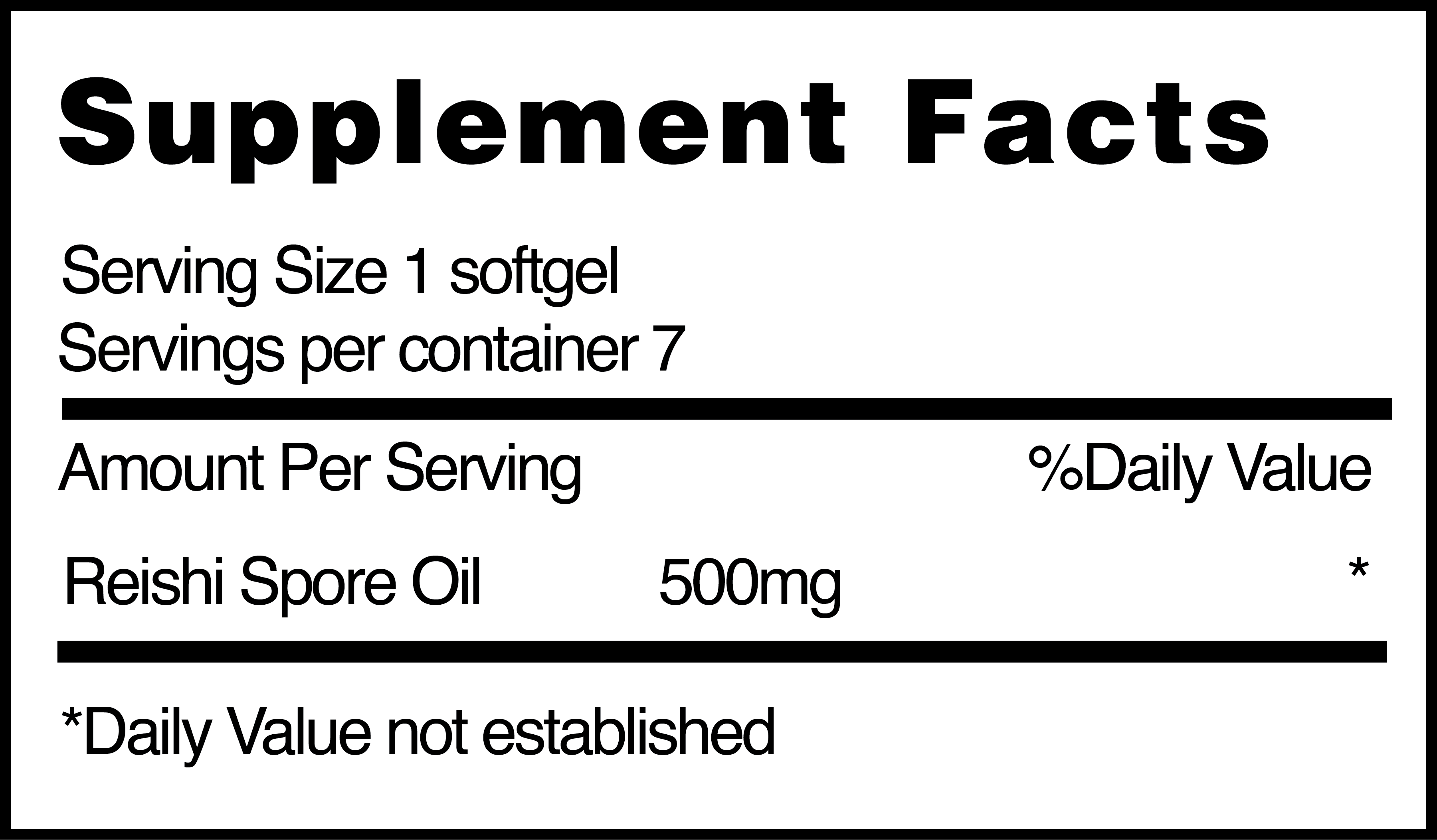 Reishi Spore Oil nutrition facts